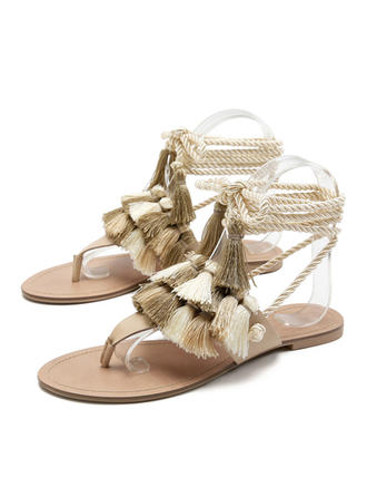 Dla kobiet PU Płaski Obcas Plaskie Japonki Kapcie Z Sznurowanie Frędzle obuwie