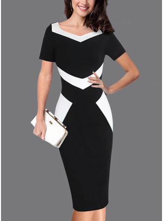 Color-block V-neck Knee Length Bodycon Dress