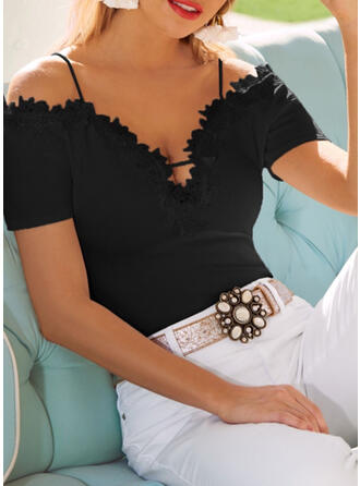 Solid Lace Cold Shoulder Short Sleeves Casual Sexy Blouses