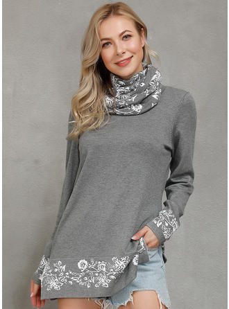 Print Floral Round Neck Sweaters