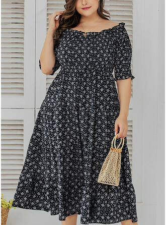 PolkaDot 1/2 Sleeves A-line Casual/Vacation/Plus Size Midi Dresses