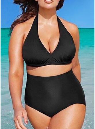 Ensfarget High Cut Halterneck V-hals Sexy Elegant Pluss størrelse Bikinier Badedrakter