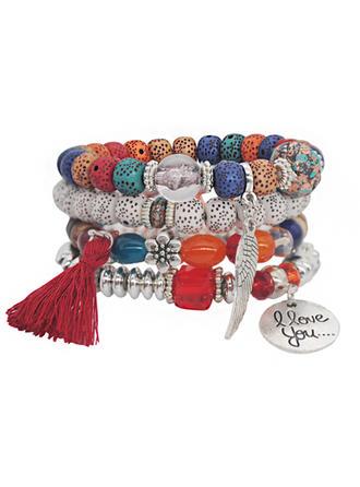Chic Legering Verzilverd Acryl Houten Kralen Dames Fashion Armbanden