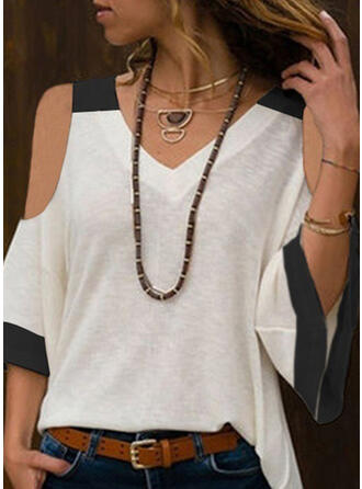 Color Block Cold Shoulder 3/4 Sleeves Casual T-shirts
