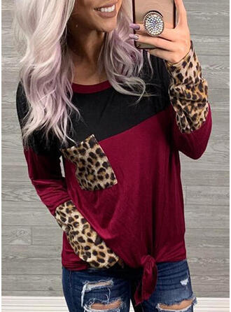 Animal Print Patchwork Round Neck Long Sleeves Casual T-shirts
