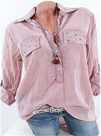Cotton Lapel Plain Long Sleeves Button Up Blouses