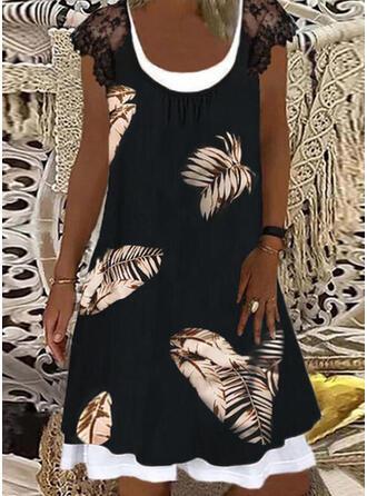 Lace/Print Cap Sleeve Shift Knee Length Casual Dresses