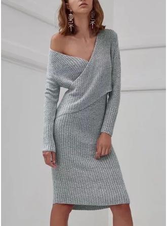 Bawełna V-neck Jednolity kolor Sukienka sweterkowa
