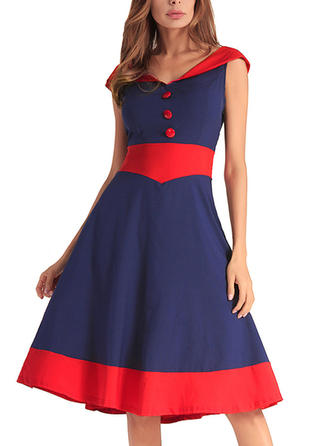Color-block V-neck Knee Length A-line Dress