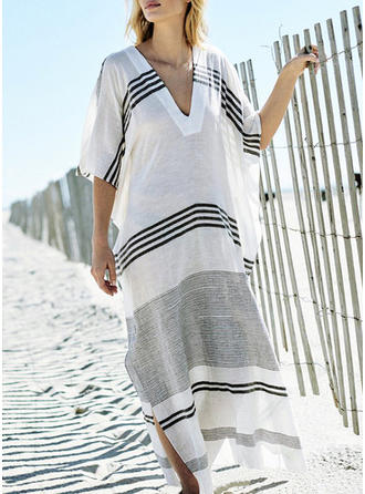 Stripe V-neck Elegant Cover-ups Swimsuits
