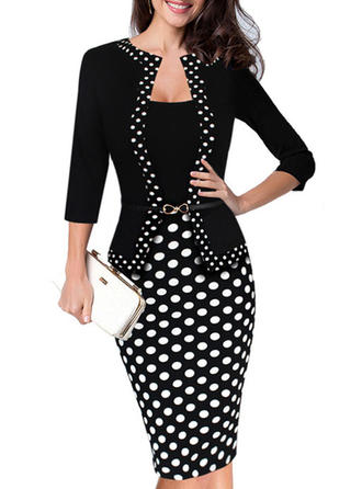 Cotton Blends With Stitching/Print/PolkaDot Knee Length Dress