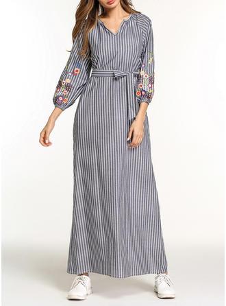 Embroidery Striped V-neck Maxi Shift Dress