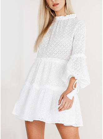 Lace/Solid 3/4 Sleeves/Puff Sleeves A-line Above Knee Casual Dresses