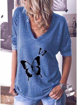 Imprimé Animal Col V Manches Longues T-shirts