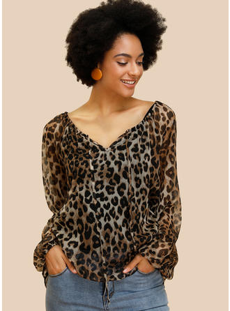 Animal Print V neck Long Sleeves Casual Blouses