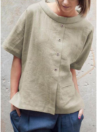 Solid Round Neck 1/2 Sleeves Button Up Casual Blouses