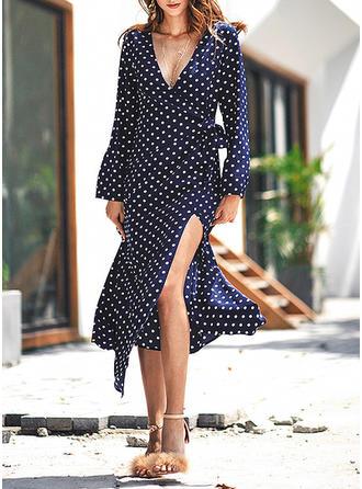PolkaDot V-neck Midi A-line Dress