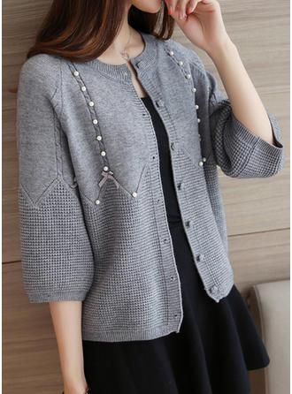 Knitting 1/2 Sleeves Plain Wide-Waisted Coats