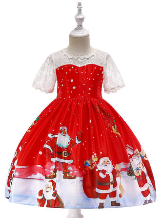 Girls Round Neck Print Lace Party Christmas Dress