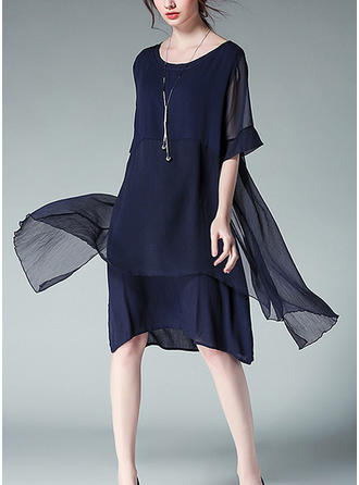 Solid Round Neck Knee Length Shift Dress (Two Pieces)