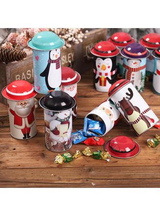 Feliz Navidad Monigote de nieve Reno Papa Noel Metal Tarros de caramelo