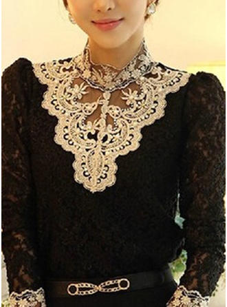 Cotton High Neck Embroidery Long Sleeves Casual Blouses