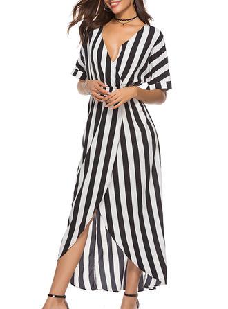 Striped V-neck Maxi A-line Dress