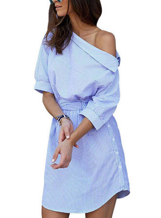 Striped 1/2 Sleeves Sheath Above Knee Casual Dresses