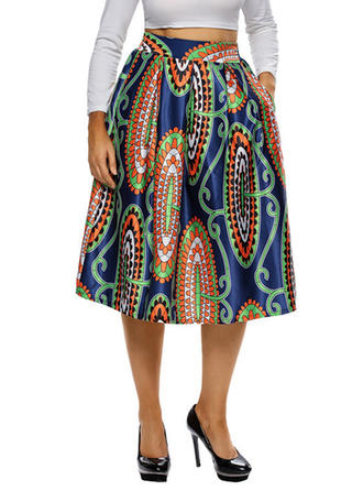 Polyester Print Knee Length A-Line Skirts
