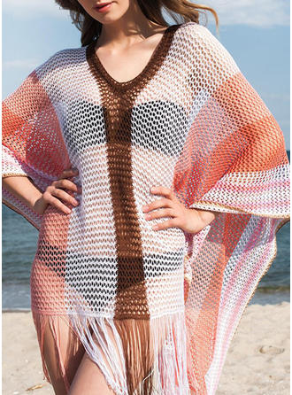 Splice color V-neck Fashionable Beautiful Bohemian Cover-ups Swimsuits