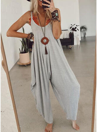 Solid Round Neck Sleeveless Casual Vacation Jumpsuit