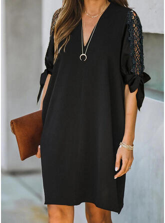 Lace/Solid 1/2 Sleeves Shift Above Knee Little Black/Casual/Vacation Dresses