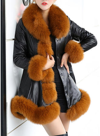 Faux Fur Long Sleeves Patchwork Faux Fur Coats