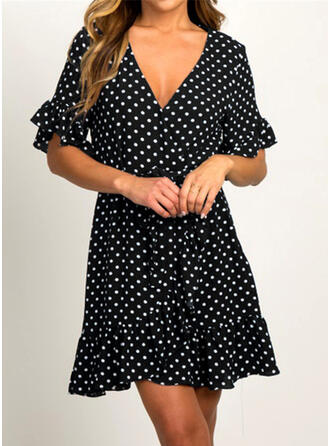 PolkaDot 1/2 Sleeves A-line Above Knee Casual Dresses