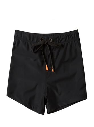 Men's Solid Color Lined Padded Swim Trunks