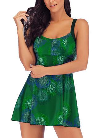 Imprimare tropicală Na ramínka Sexy Plavkové šaty Costume de baie