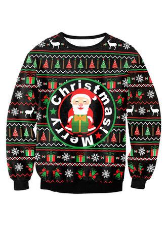 Män polyester Elastan Print Jultomten Jultröja