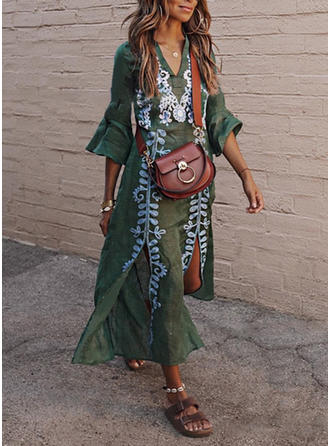 Print Flare Sleeves Shift Maxi Casual/Vacation Dresses