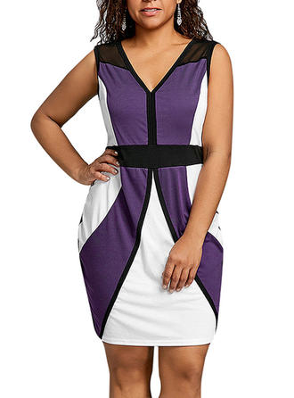 Color-block V-neck Above Knee Bodycon Dress