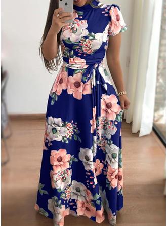 Print/Floral Short Sleeves A-line Vintage/Elegant Maxi Dresses