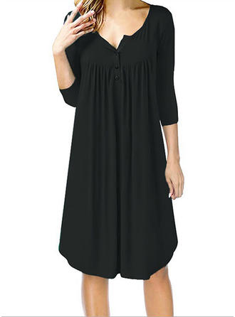 Solid 3/4 Sleeves Shift Knee Length Little Black/Casual Dresses