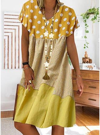 PolkaDot/Plaid/Patchwork Short Sleeves Shift Knee Length Casual Dresses