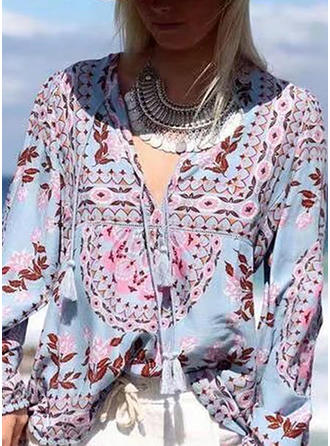 Polyester V Neck Floral Lantern Sleeve Ruffle Blouses