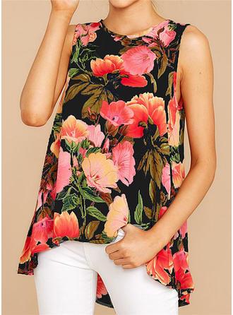 Floral Round Neck Sleeveless Casual Elegant Blouses