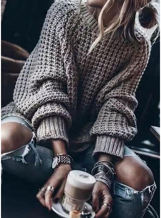 Solid Waffle Knit Chunky knit Round Neck Sweaters