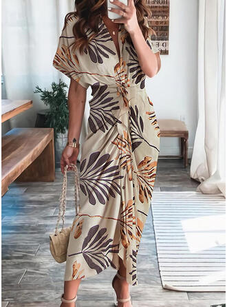 Print 1/2 Sleeves Sheath Casual/Vacation Midi Dresses