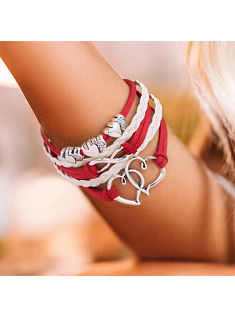 Heart Layered Valentine's Day Alloy Braided Rope Women's Bracelets