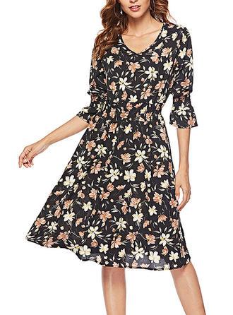 Print Floral V-neck Knee Length A-line Dress