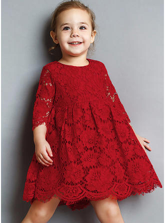 Girls Round Neck Solid Lace Cute Dress