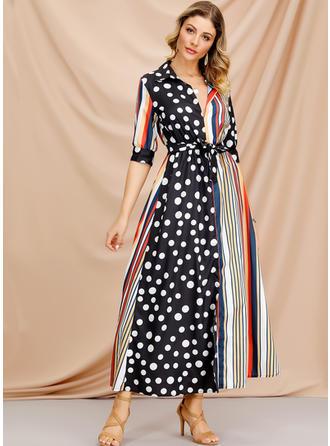 PolkaDot/Striped 1/2 Sleeves A-line Maxi Casual/Elegant Dresses